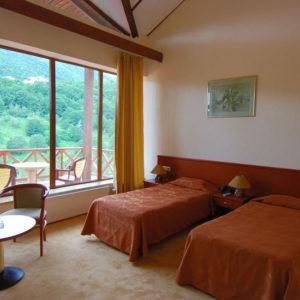 Номер в отеле с двумя полуторными кроватямя, разделенными тумбочками, большое окно не завешено, вид на горы, фото
